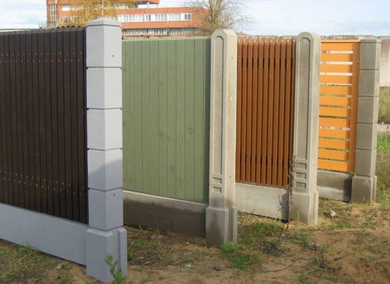 Разновидности бетонных столбов для забора