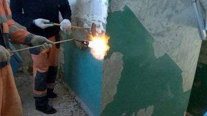 Выжигание краски со стены