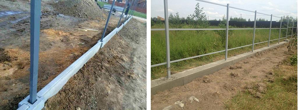 Два типа ленточного фундамента под забор