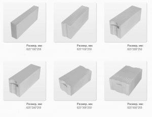 Размеры материалов из ячеистого бетона