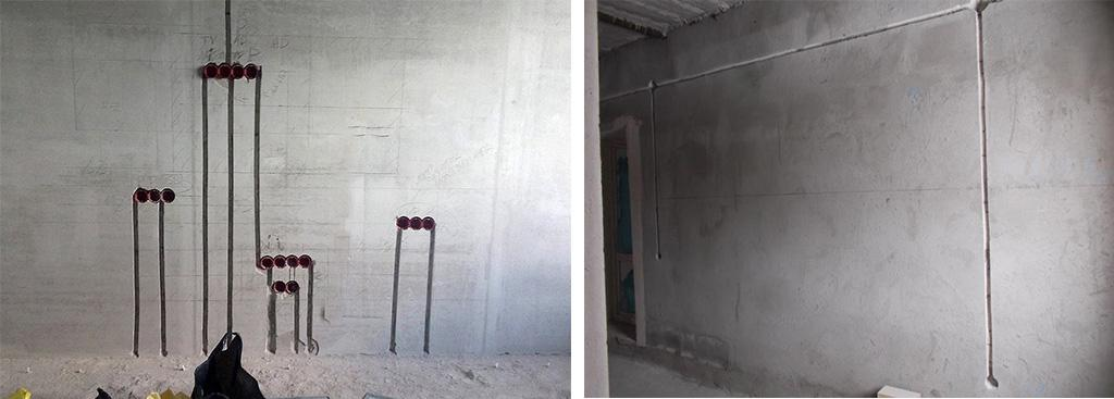 Штроба под проводку в бетонной стене