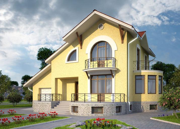окрашенный дом из газобетона