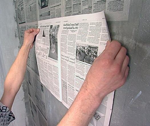 подготовка стен газетами