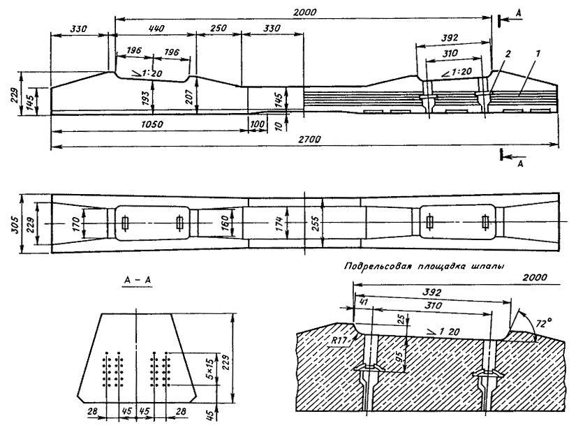 схема шпалы жб