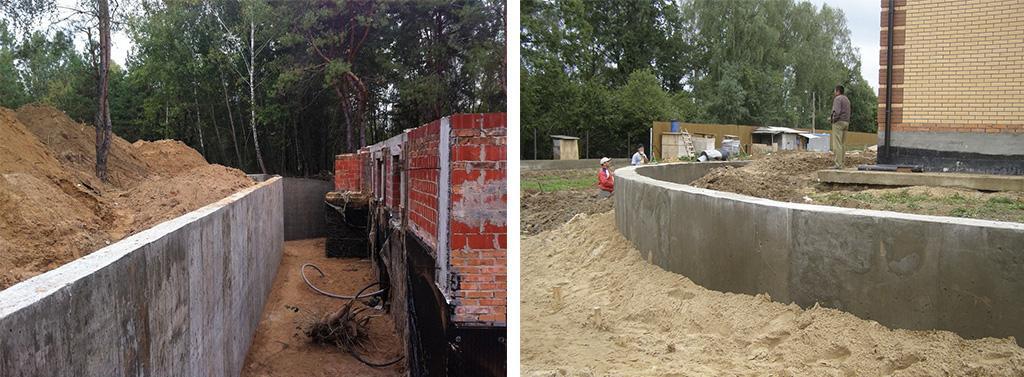 Прямая и полукруглая подпорная бетонная стенка
