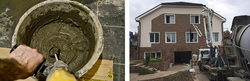 Замес бетонной смеси из пескобетона
