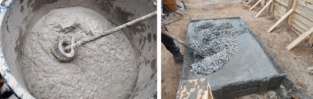 Замес цементного раствора для подпорной стенки
