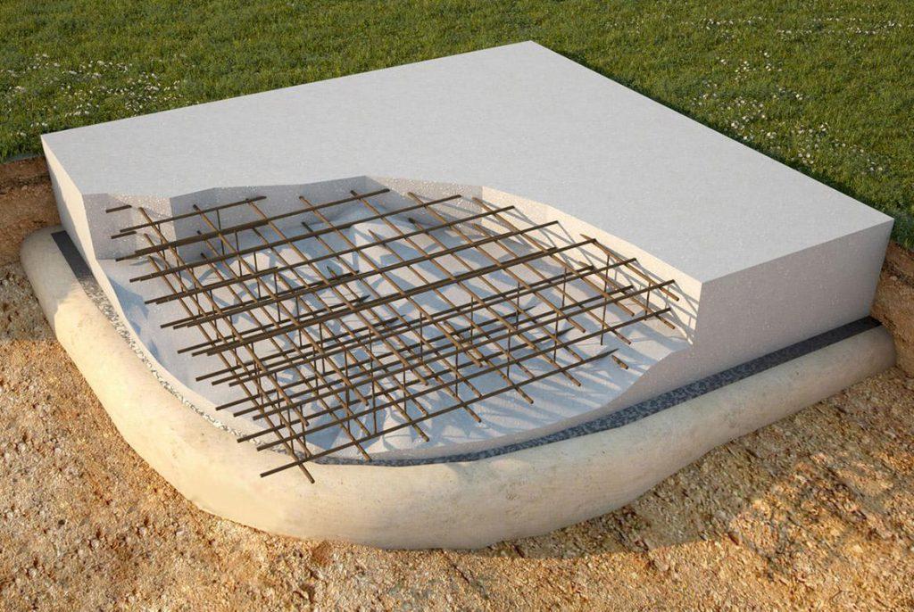 монолитная упрочненная плита поверх ленточного фундамента