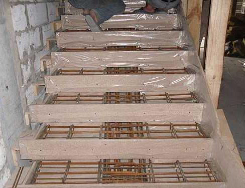 монтаж опалубки для бетонной лестницы