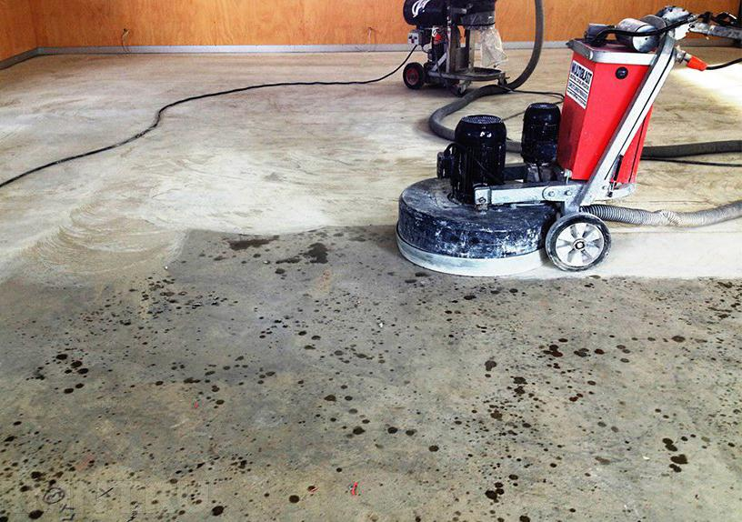 процесс полировки бетона