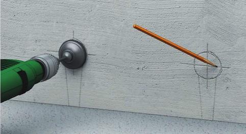 разметка стены для подрозетника в бетон