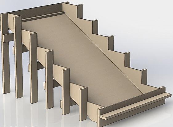схема деревянной опалубки для лестницы
