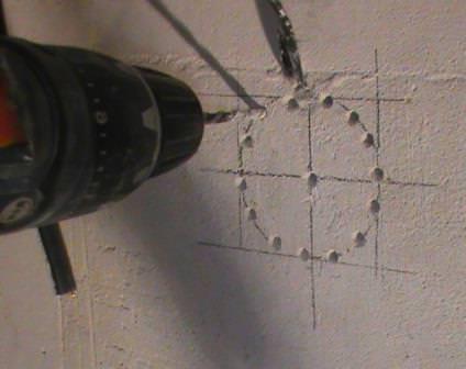 сверление отверстия под подротезник в бетоне