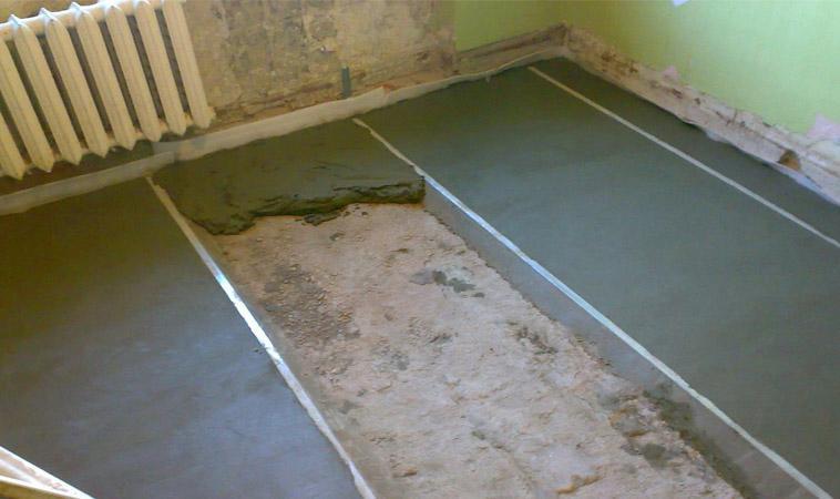 заливка пола песчано-цементной смесью