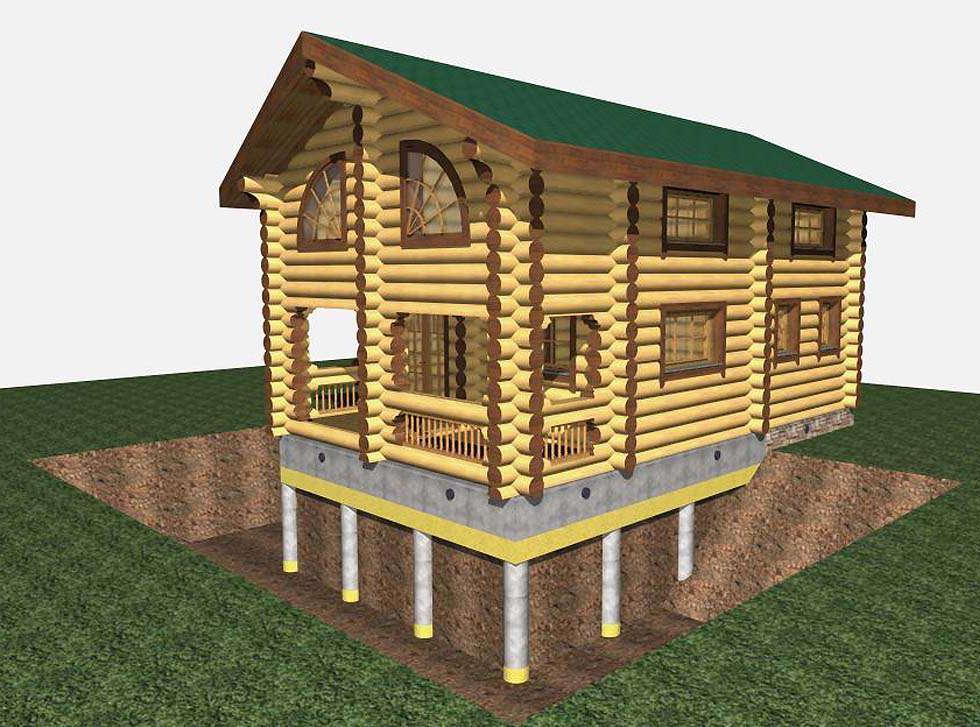 здание на столбчато-ленточном фундаменте