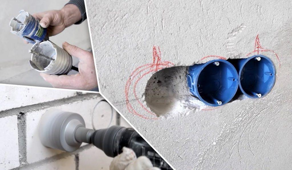 монтаж подрозетников в бетон