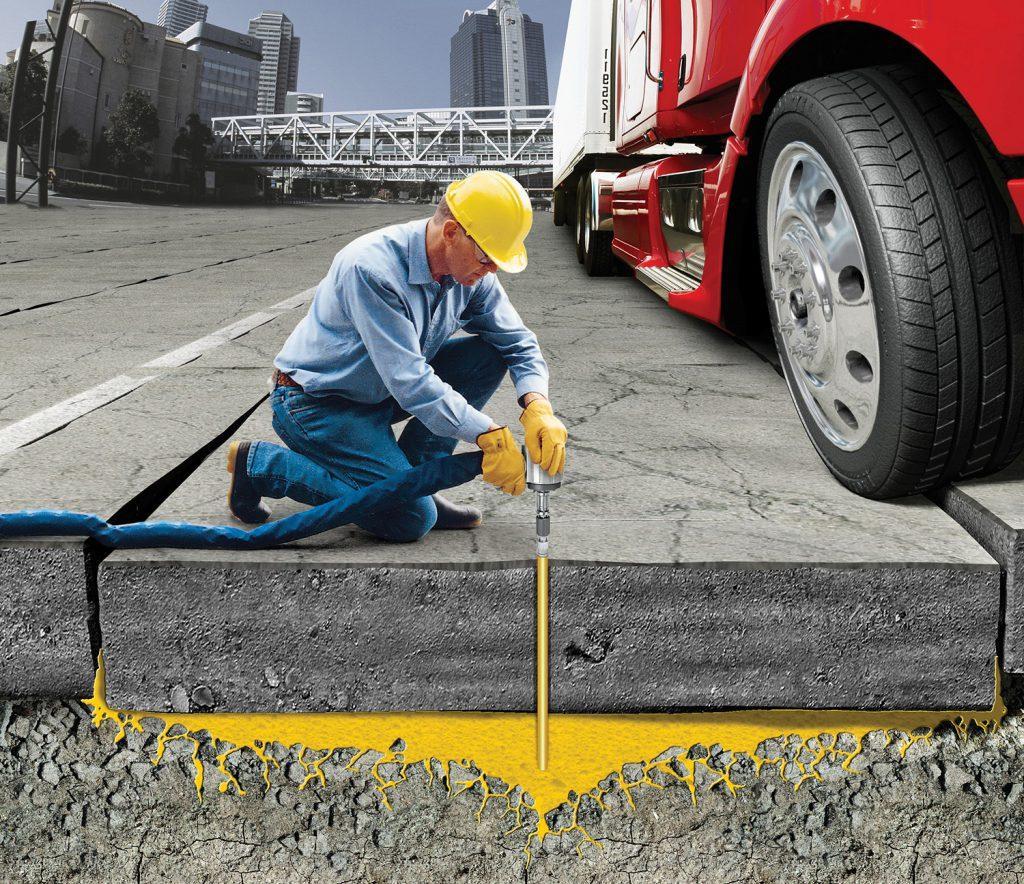 ремонт просевшей бетонной дороги