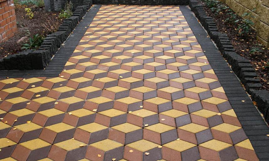 выполнение покрытия сложного рисунка из тротуарной плитки
