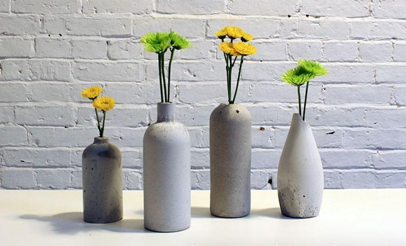 бетонные вазы из бутылки