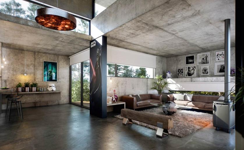 бетонный потолок в дизайне иньерьера