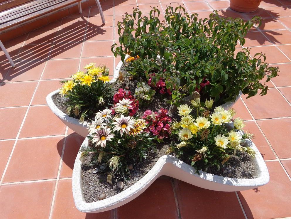 бетонный вазон в виде цветка