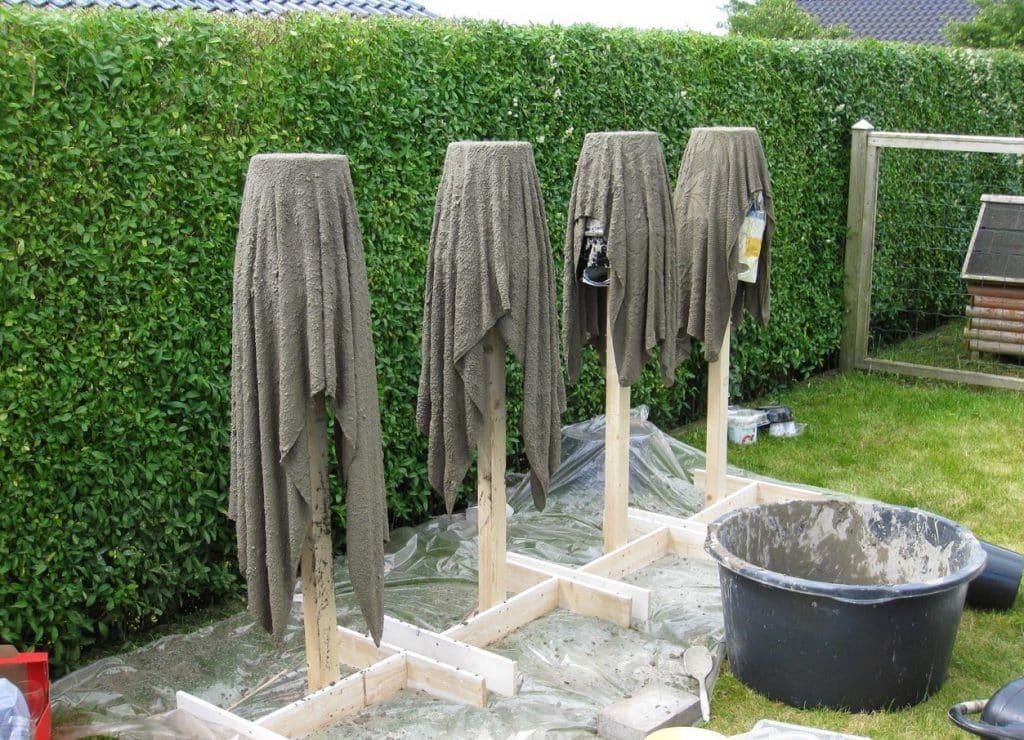 как сделать бетонную вазу из полотенца