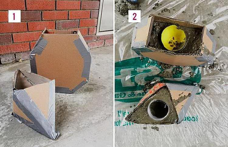 как сделать бетонные вазы из картонных коробок