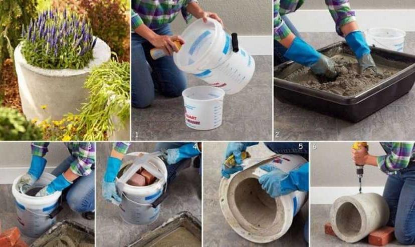 как сделать бетонный вазон