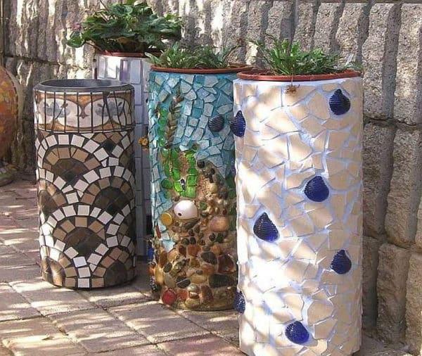 красивые бетонные вазоны мозаика