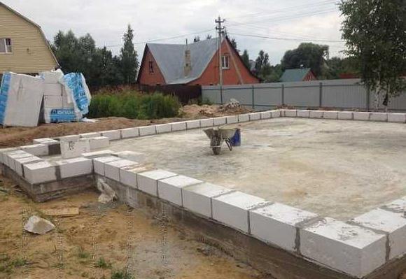 начало кладки стен для гаража из пенобетона