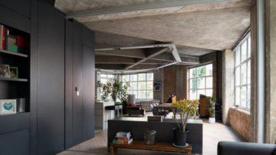 необработанный потолок в интерьере