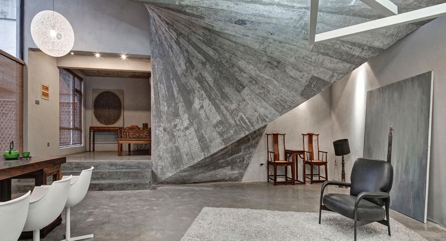 оригинальные идеи с бетоном в интерьере