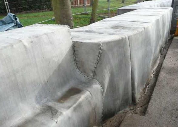покрытие конструкции бетонным полотном