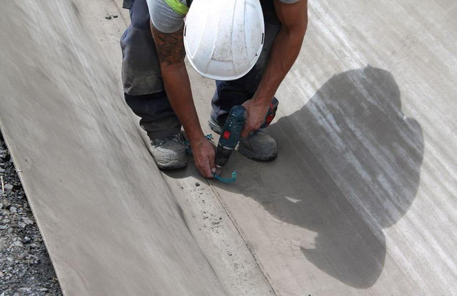 работа с бетонным полотном