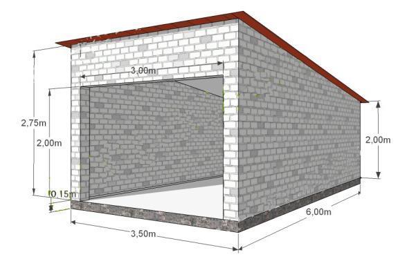 схема гаража из пенобетона