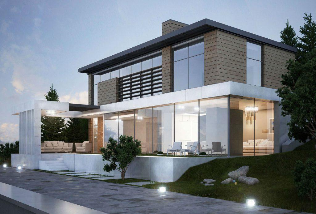 современный дом из арболита