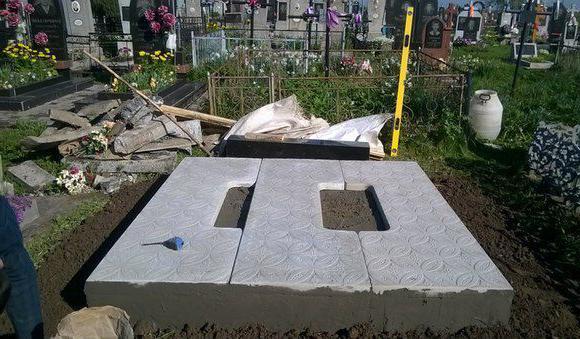 установка бетонных плит под памятники