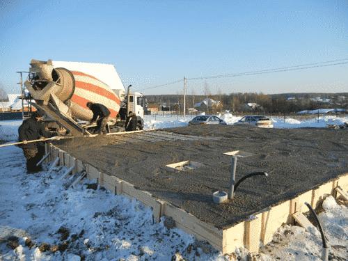 как заливать бетон на морозе