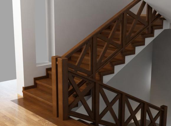 лестница из дерева в доме