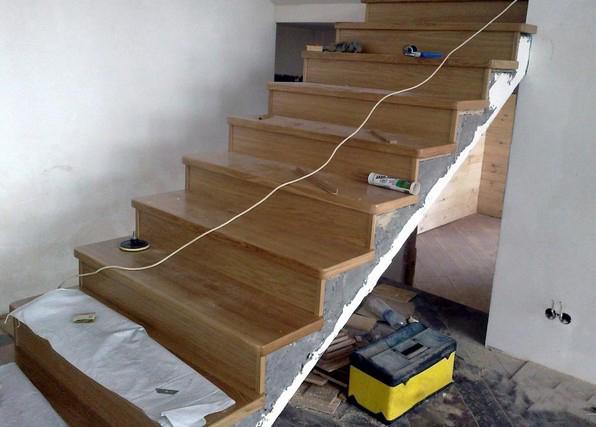 отделка деревом бетонной лестницы