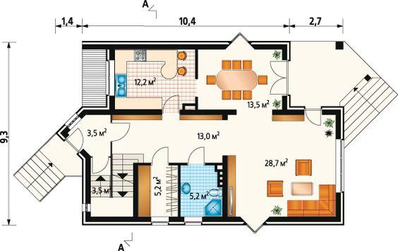 план одноэтажного дома с балконом, террасой, мансардой