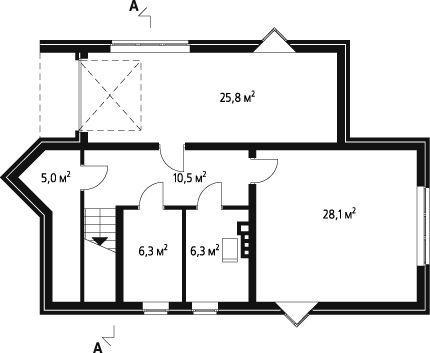 план подвального этажа двухэтажного дома 10 на 10