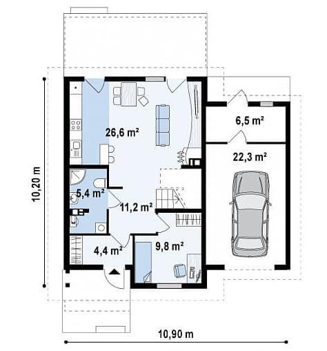 планировка первого этажа двухэтажного дома с гаражом