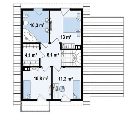 планировка второго этажа двухэтажного дома с гаражом