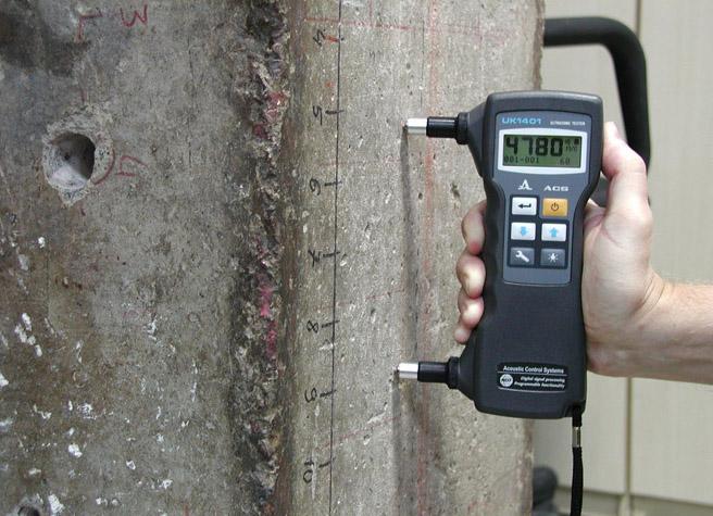 Использование измерителя прочности бетона
