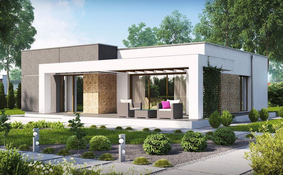 проект газобетонного дома в стиле минимализм