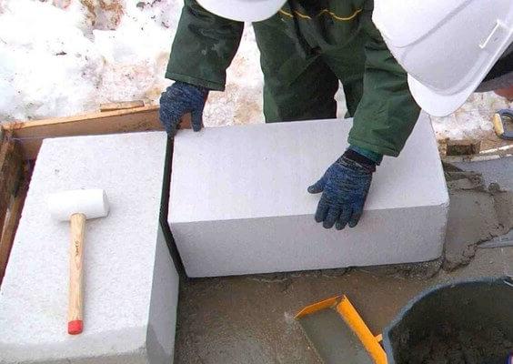 работа с газобетоном в зимнее время