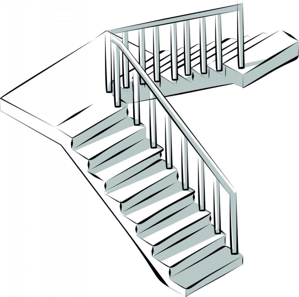 схема стандартной лестницы из дерева