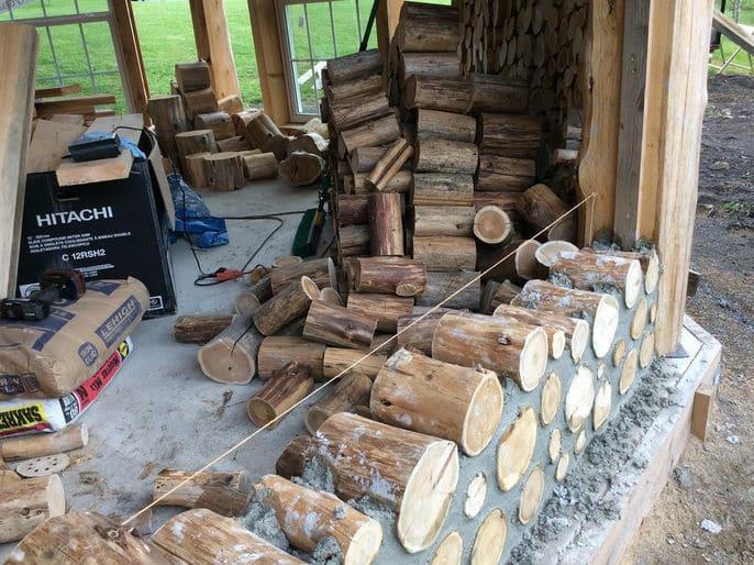 строительство дома из цемента и чурок своими руками