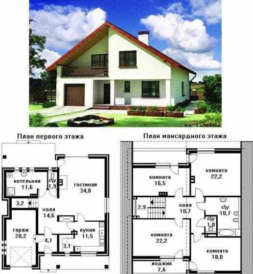 дом из пенобетона с мансардой